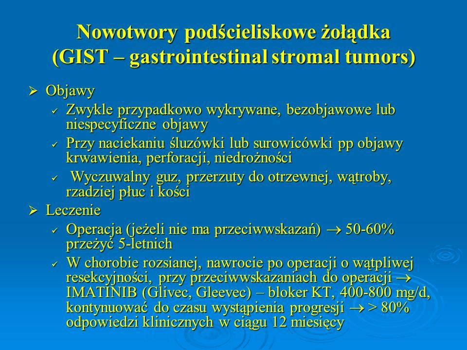 Nowotwory podścieliskowe żołądka (GIST – gastrointestinal stromal tumors)  Objawy Zwykle przypadkowo wykrywane, bezobjawowe lub niespecyficzne objawy