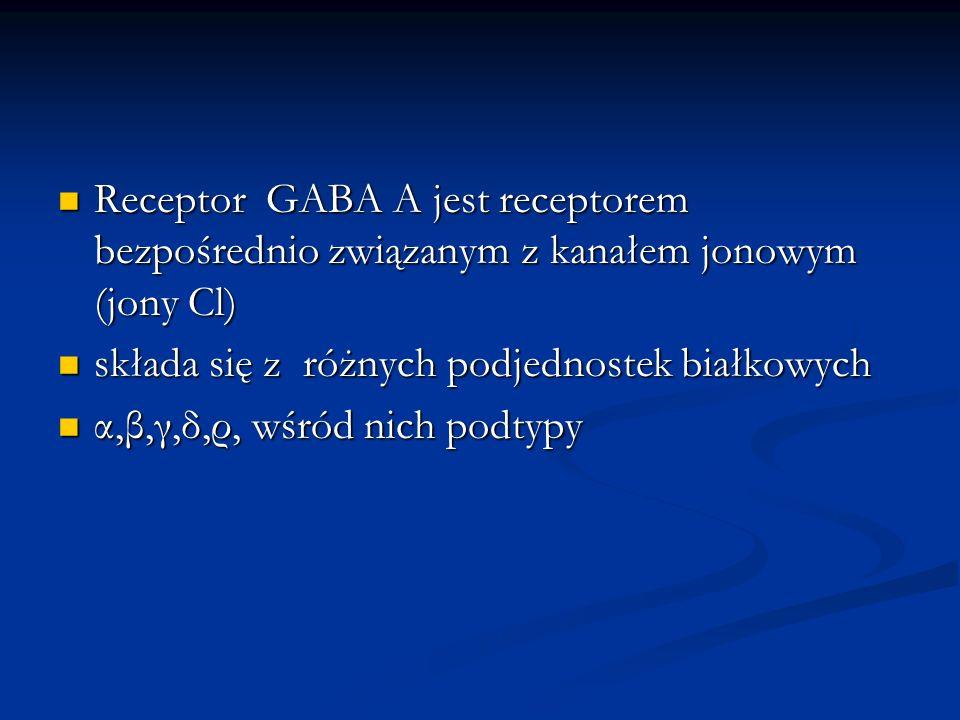 Receptor GABA A jest receptorem bezpośrednio związanym z kanałem jonowym (jony Cl) Receptor GABA A jest receptorem bezpośrednio związanym z kanałem jo