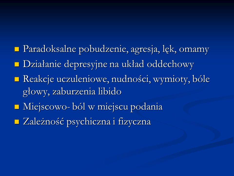 Paradoksalne pobudzenie, agresja, lęk, omamy Paradoksalne pobudzenie, agresja, lęk, omamy Działanie depresyjne na układ oddechowy Działanie depresyjne