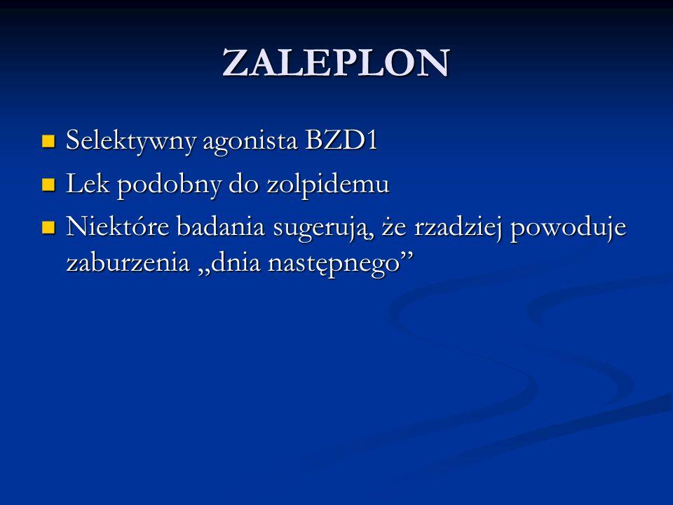 ZALEPLON Selektywny agonista BZD1 Selektywny agonista BZD1 Lek podobny do zolpidemu Lek podobny do zolpidemu Niektóre badania sugerują, że rzadziej po