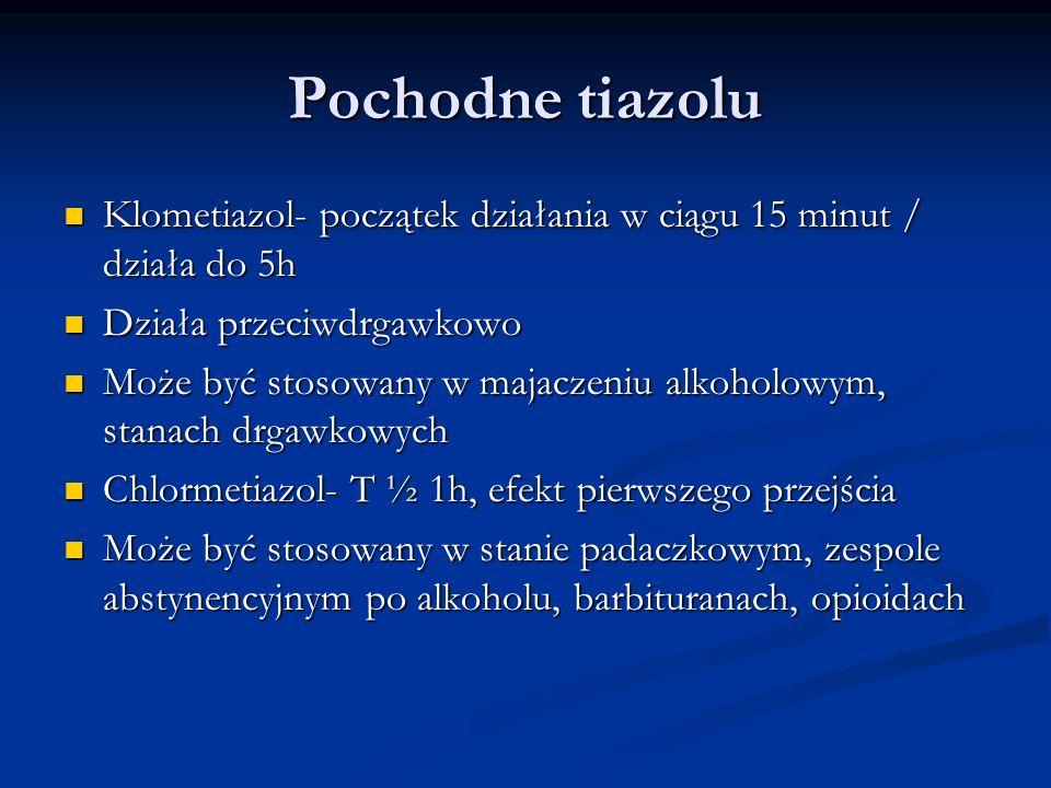 Pochodne tiazolu Klometiazol- początek działania w ciągu 15 minut / działa do 5h Klometiazol- początek działania w ciągu 15 minut / działa do 5h Dział
