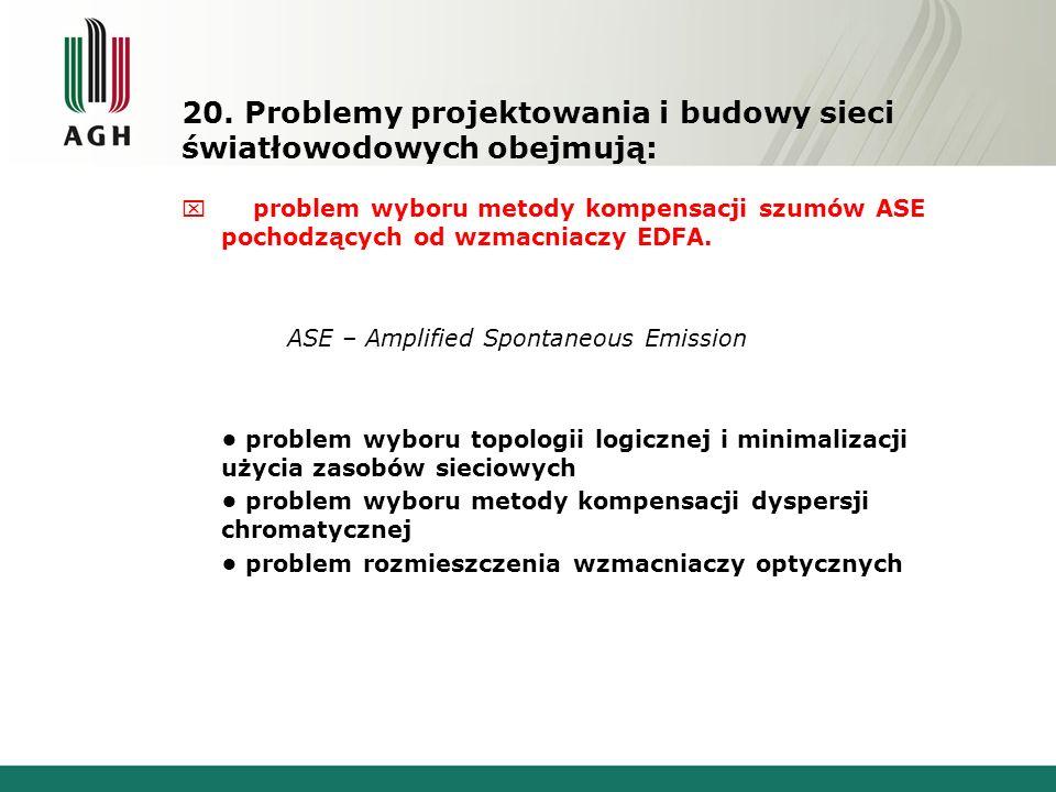 20. Problemy projektowania i budowy sieci światłowodowych obejmują: x problem wyboru metody kompensacji szumów ASE pochodzących od wzmacniaczy EDFA. A