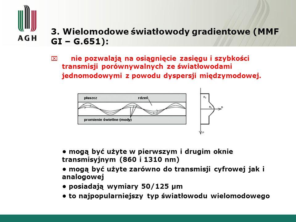 3. Wielomodowe światłowody gradientowe (MMF GI – G.651): x nie pozwalają na osiągnięcie zasięgu i szybkości transmisji porównywalnych ze światłowodami