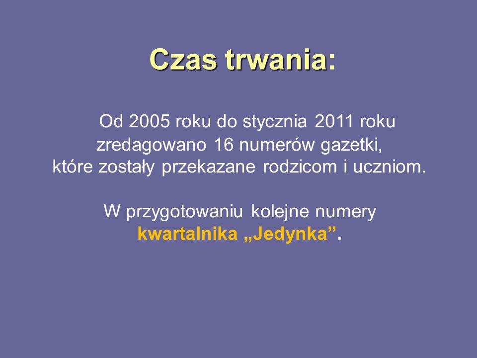 Czas trwania Czas trwania: Od 2005 roku do stycznia 2011 roku zredagowano 16 numerów gazetki, które zostały przekazane rodzicom i uczniom. W przygotow