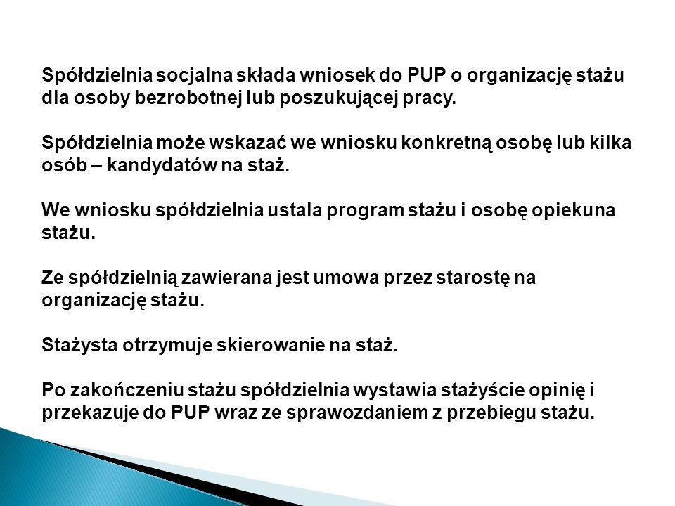 Spółdzielnia socjalna składa wniosek do PUP o organizację stażu dla osoby bezrobotnej lub poszukującej pracy.