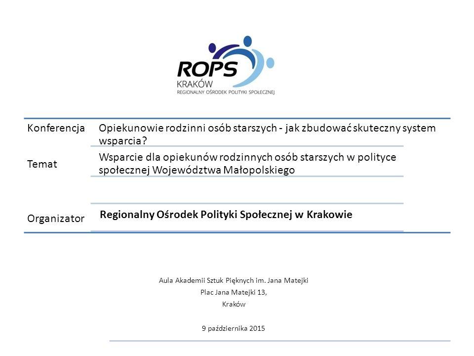 Konferencja Temat Organizator Wsparcie dla opiekunów rodzinnych osób starszych w polityce społecznej Województwa Małopolskiego Opiekunowie rodzinni osób starszych - jak zbudować skuteczny system wsparcia.