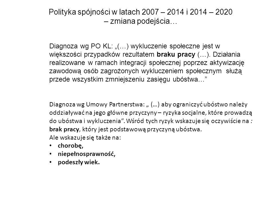 """Polityka spójności w latach 2007 – 2014 i 2014 – 2020 – zmiana podejścia… Diagnoza wg PO KL: """"(…) wykluczenie społeczne jest w większości przypadków rezultatem braku pracy (…)."""