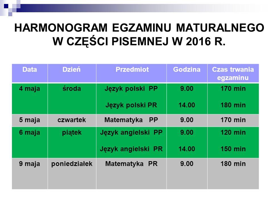 HARMONOGRAM EGZAMINU MATURALNEGO W CZĘŚCI PISEMNEJ W 2016 R.