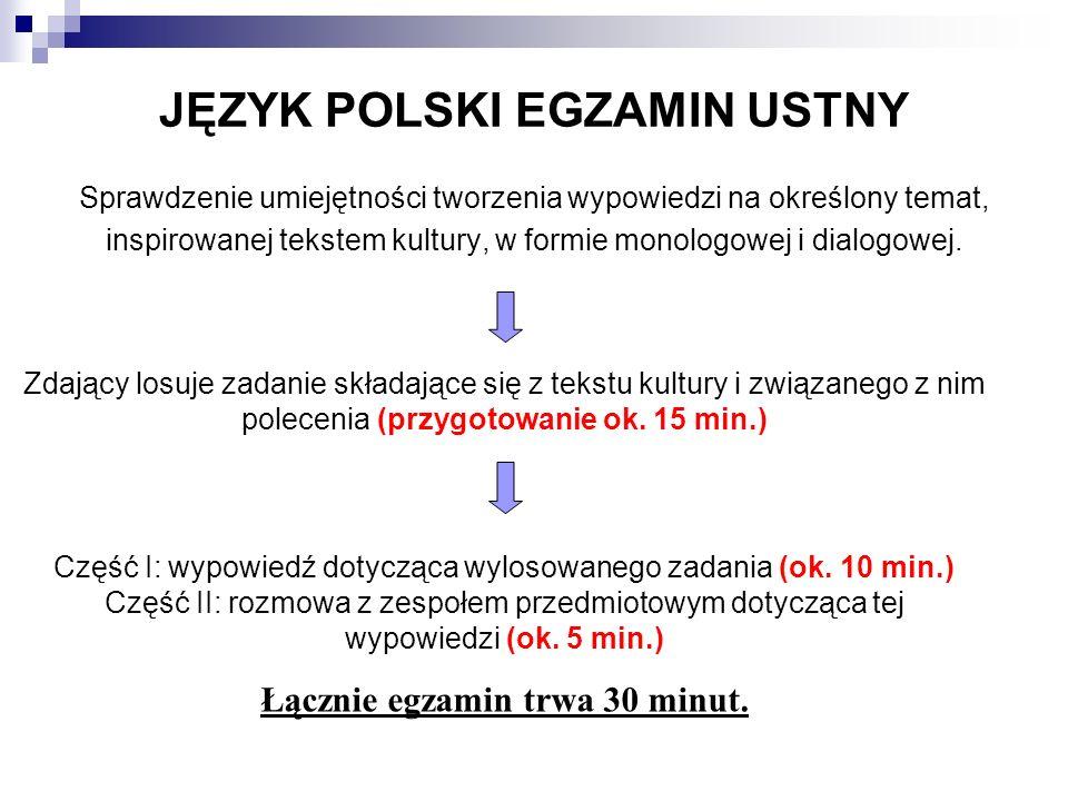 JĘZYK POLSKI EGZAMIN USTNY Sprawdzenie umiejętności tworzenia wypowiedzi na określony temat, inspirowanej tekstem kultury, w formie monologowej i dialogowej.