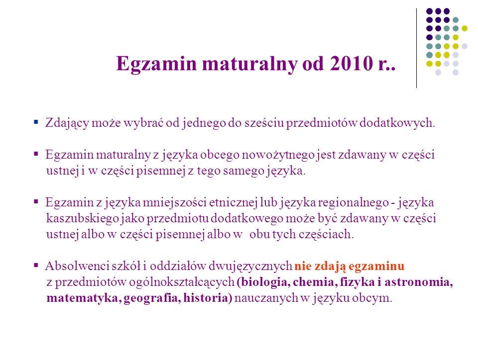 Egzamin maturalny od 2010 r..  Zdający może wybrać od jednego do sześciu przedmiotów dodatkowych.
