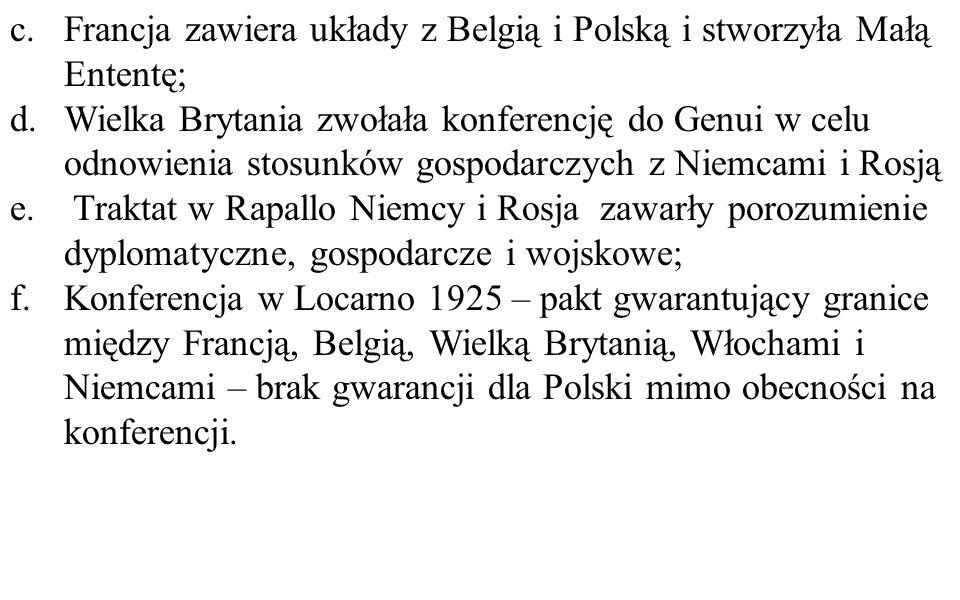 c.Francja zawiera układy z Belgią i Polską i stworzyła Małą Ententę; d.Wielka Brytania zwołała konferencję do Genui w celu odnowienia stosunków gospod