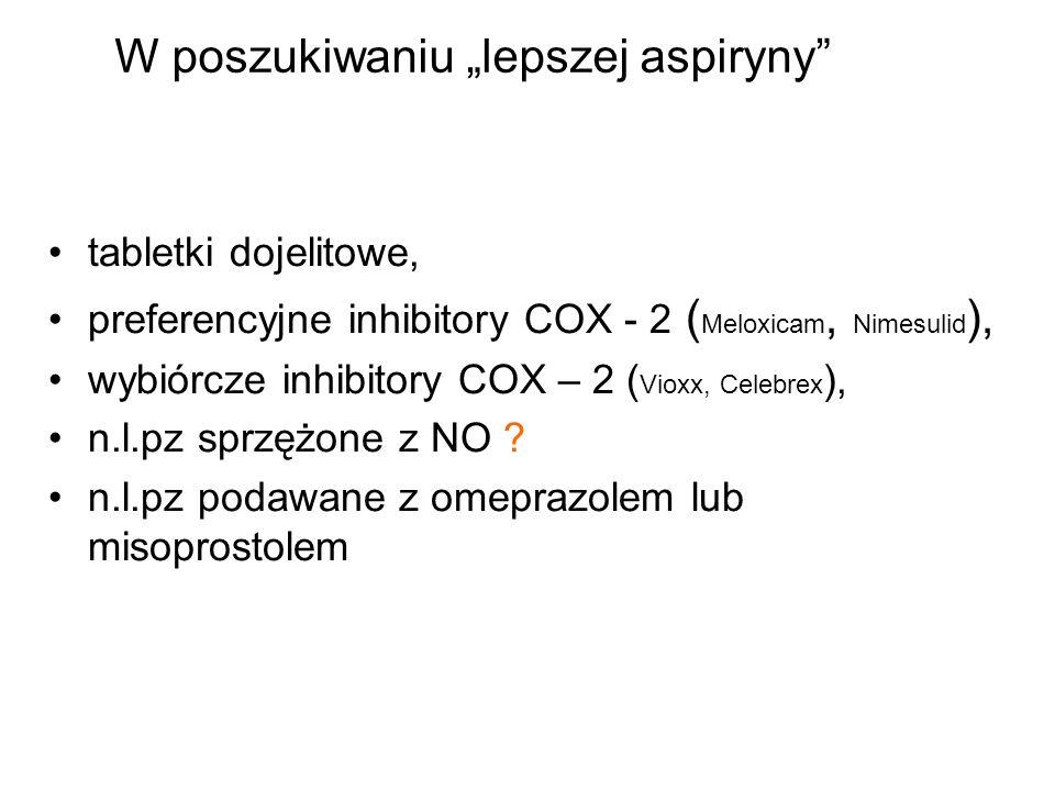 tabletki dojelitowe, preferencyjne inhibitory COX - 2 ( Meloxicam, Nimesulid ), wybiórcze inhibitory COX – 2 ( Vioxx, Celebrex ), n.l.pz sprzężone z N