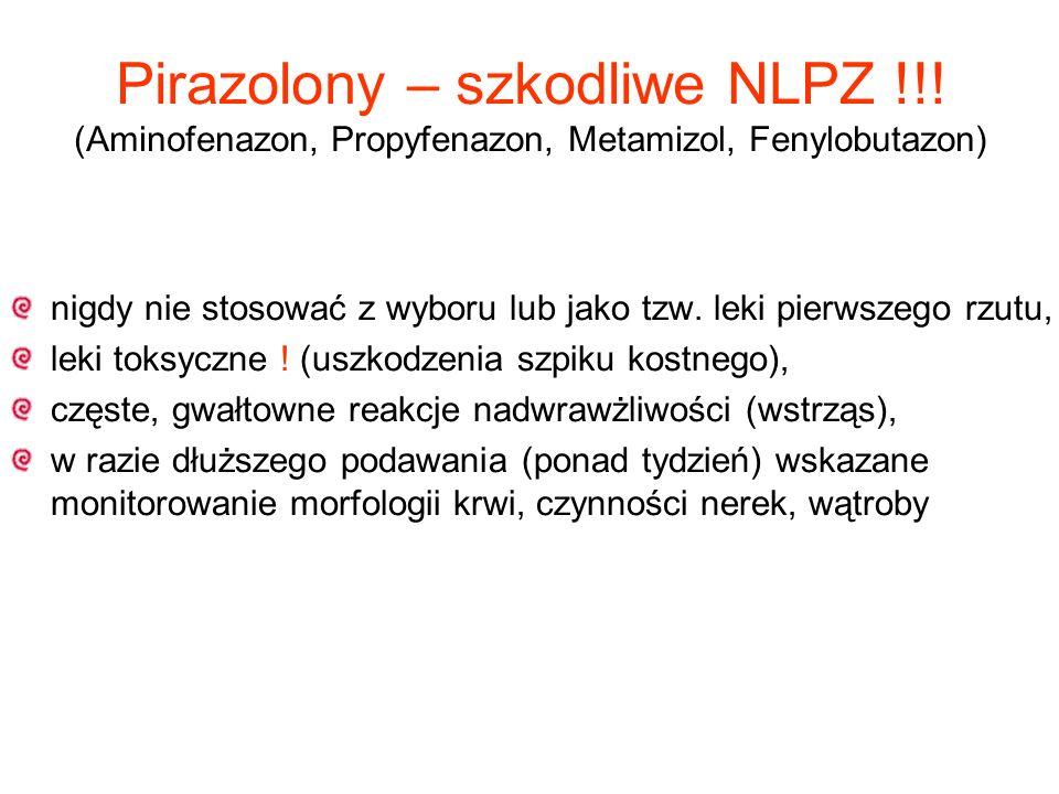 Pirazolony – szkodliwe NLPZ !!! (Aminofenazon, Propyfenazon, Metamizol, Fenylobutazon) nigdy nie stosować z wyboru lub jako tzw. leki pierwszego rzutu