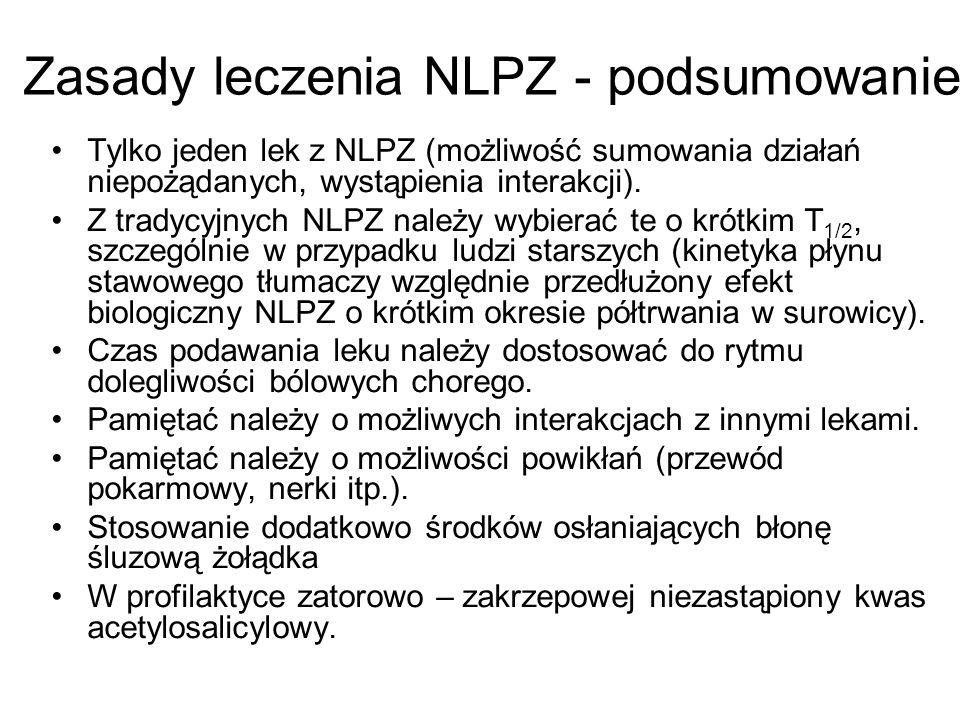 Zasady leczenia NLPZ - podsumowanie Tylko jeden lek z NLPZ (możliwość sumowania działań niepożądanych, wystąpienia interakcji). Z tradycyjnych NLPZ na