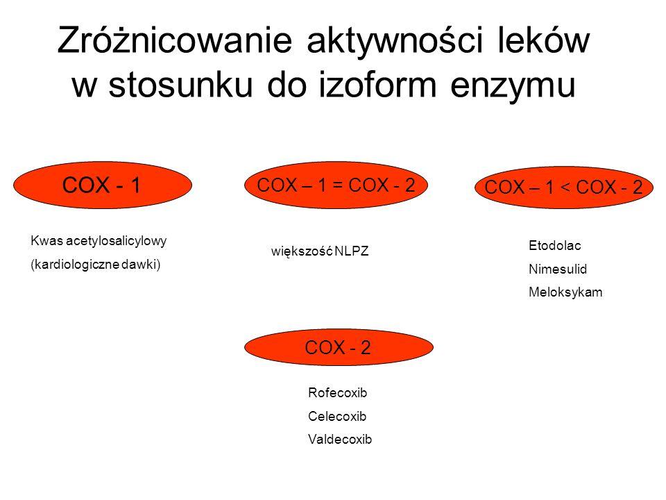 """Ekspresja, regulacja, czynność cyklooksygenaz (COX -1, COX - 2) bodziec fizjologiczny dostosowanie fizjologiczne bodziec zapalny COX – 1 COX – 2 COX – 2 konstytutywny konstytutywny indukowany krwinki płytkowe (TxA 2 ) prostaglandyny prostaglandyny nerki, żołądek (PGE 2 ) naczynia krwionośne (PGI 2 ) * rdzeń kręgowy * zapalenie * nerki * ból """"enzym homeostatyczny * macica * gorączka * gojenie się ran PGI 2 – prostacyklina, TxA 2 – tromboksan"""