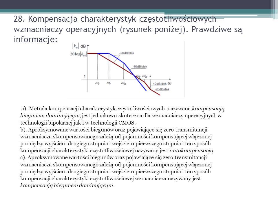28. Kompensacja charakterystyk częstotliwościowych wzmacniaczy operacyjnych (rysunek poniżej). Prawdziwe są informacje: a). Metoda kompensacji charakt
