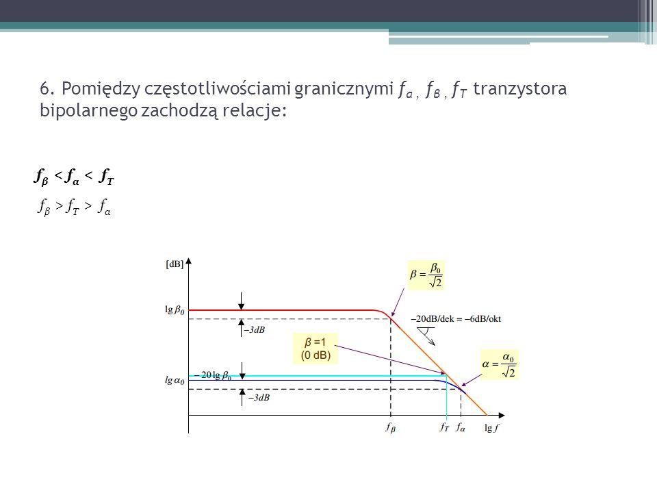 6. Pomiędzy częstotliwościami granicznymi f α, f β, f T tranzystora bipolarnego zachodzą relacje: f β < f α < f T f β > f T > f α