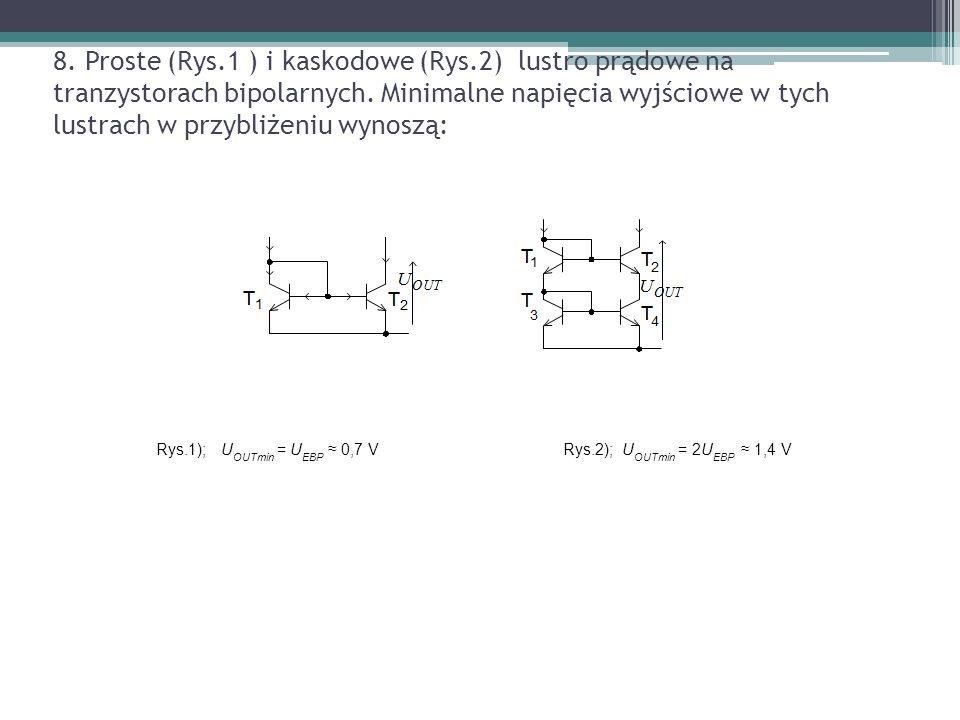 8. Proste (Rys.1 ) i kaskodowe (Rys.2) lustro prądowe na tranzystorach bipolarnych. Minimalne napięcia wyjściowe w tych lustrach w przybliżeniu wynosz