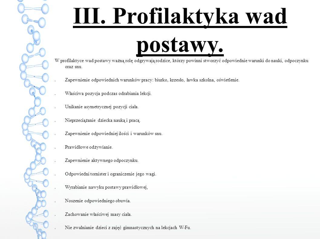 III.Profilaktyka wad postawy.