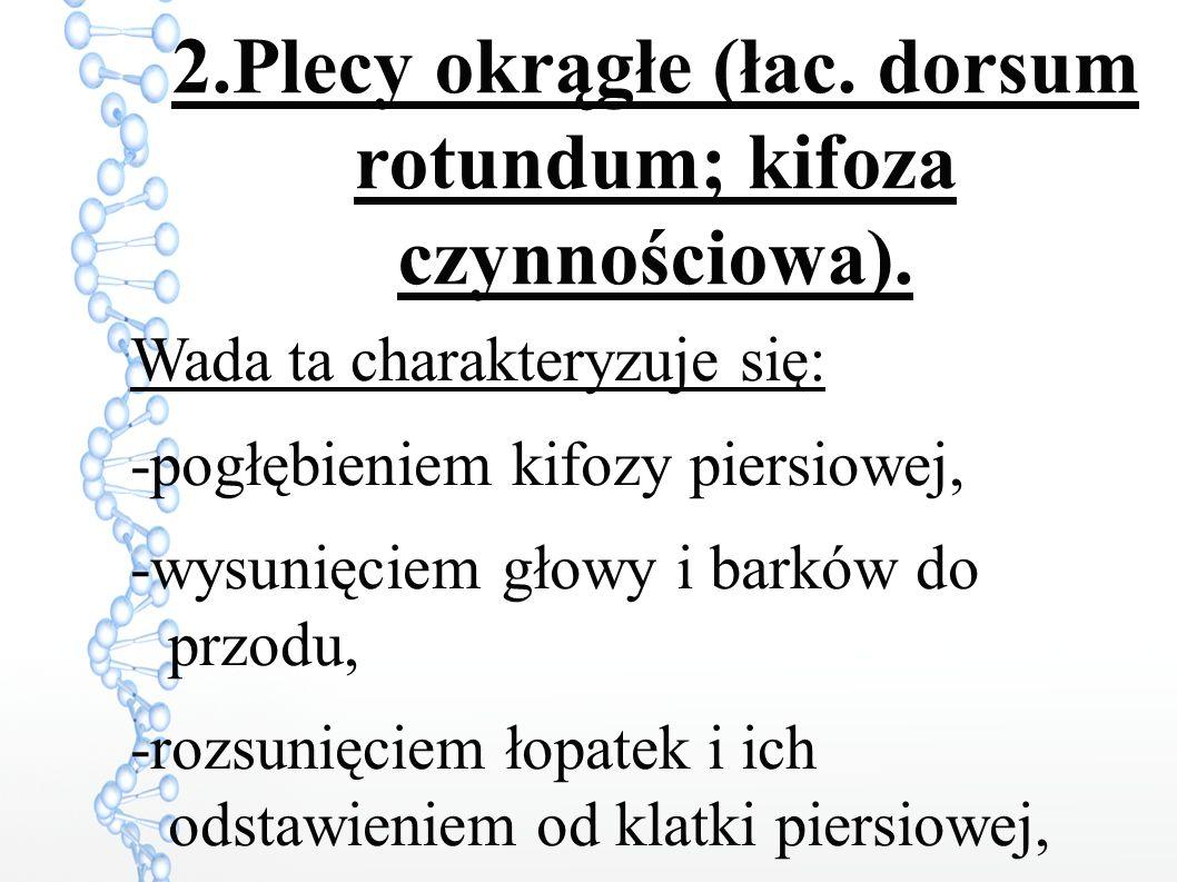 2.Plecy okrągłe (łac.dorsum rotundum; kifoza czynnościowa).