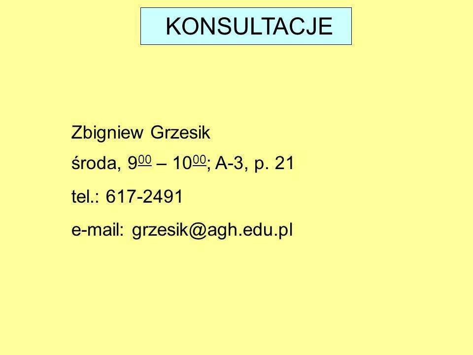 KONSULTACJE środa, 9 00 – 10 00 ; A-3, p. 21 tel.: 617-2491 e-mail: grzesik@agh.edu.pl Zbigniew Grzesik