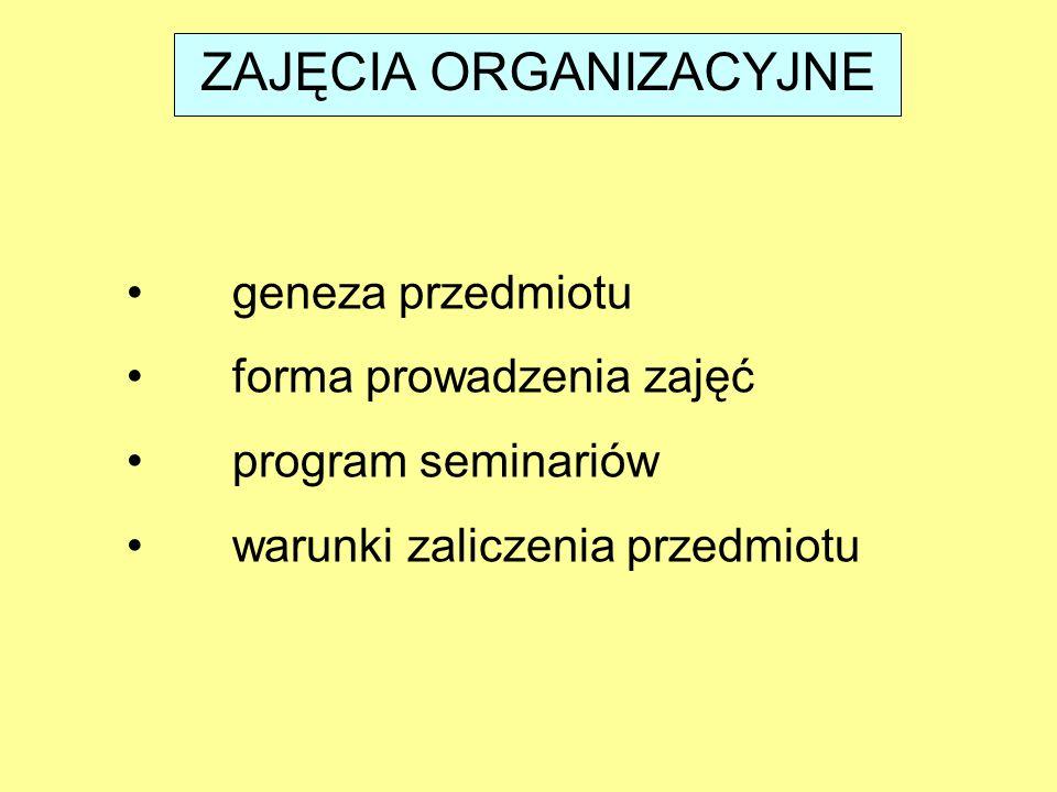 ZAJĘCIA ORGANIZACYJNE geneza przedmiotu forma prowadzenia zajęć program seminariów warunki zaliczenia przedmiotu