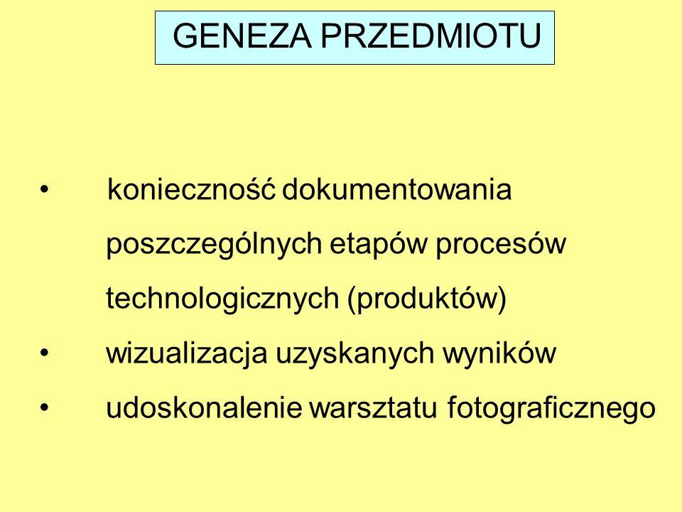 GENEZA PRZEDMIOTU konieczność dokumentowania poszczególnych etapów procesów technologicznych (produktów) wizualizacja uzyskanych wyników udoskonalenie warsztatu fotograficznego