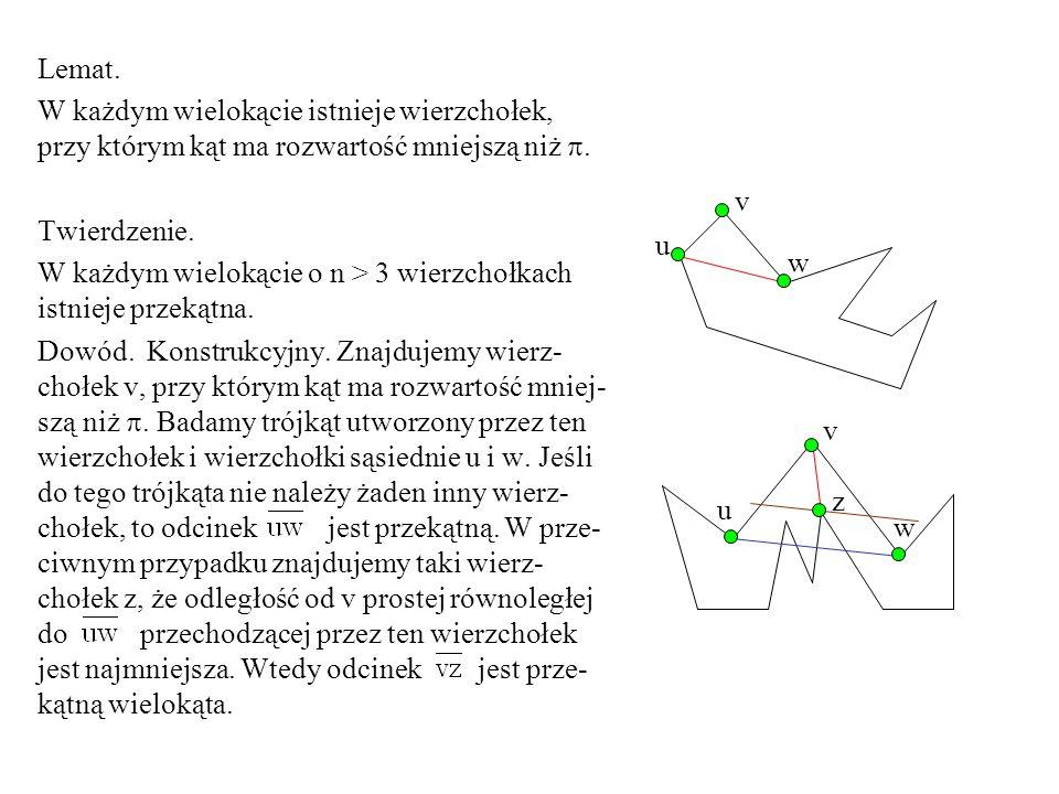 Lemat. W każdym wielokącie istnieje wierzchołek, przy którym kąt ma rozwartość mniejszą niż . Twierdzenie. W każdym wielokącie o n > 3 wierzchołkach