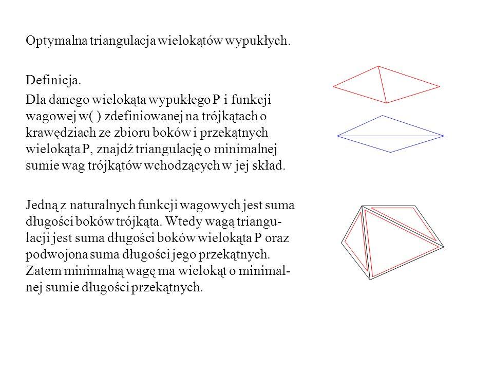 Optymalna triangulacja wielokątów wypukłych. Definicja. Dla danego wielokąta wypukłego P i funkcji wagowej w( ) zdefiniowanej na trójkątach o krawędzi
