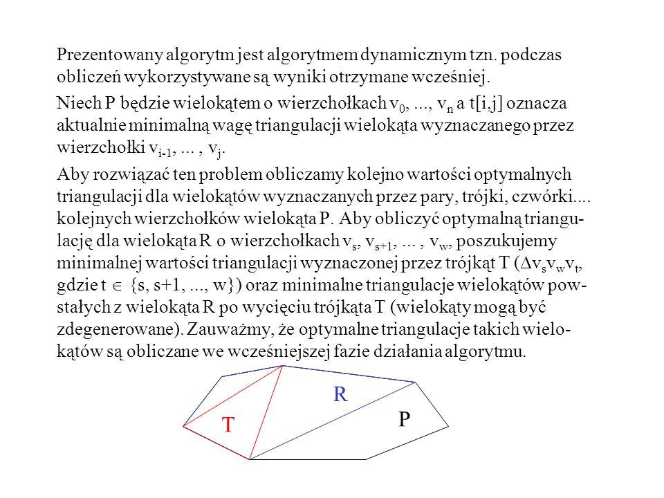 Prezentowany algorytm jest algorytmem dynamicznym tzn. podczas obliczeń wykorzystywane są wyniki otrzymane wcześniej. Niech P będzie wielokątem o wier