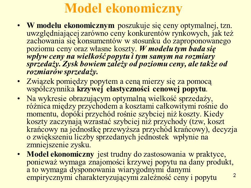2 Model ekonomiczny W modelu ekonomicznym poszukuje się ceny optymalnej, tzn.