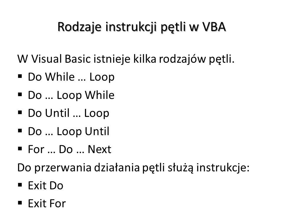Rodzaje instrukcji pętli w VBA W Visual Basic istnieje kilka rodzajów pętli.  Do While … Loop  Do … Loop While  Do Until … Loop  Do … Loop Until 