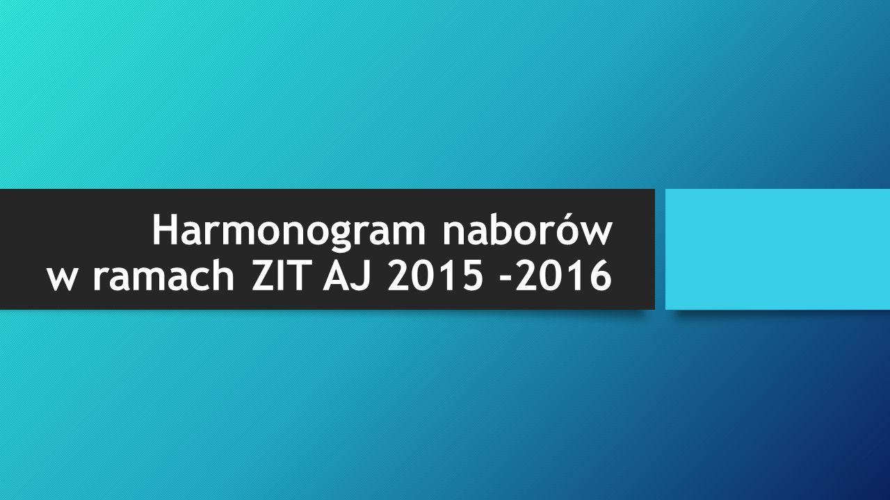 Harmonogram naborów w ramach ZIT AJ 2015 -2016