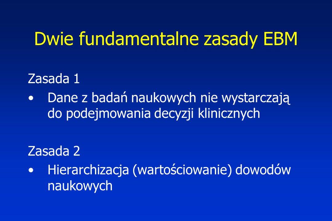 Dwie fundamentalne zasady EBM Zasada 1 Dane z badań naukowych nie wystarczają do podejmowania decyzji klinicznych Zasada 2 Hierarchizacja (wartościowanie) dowodów naukowych