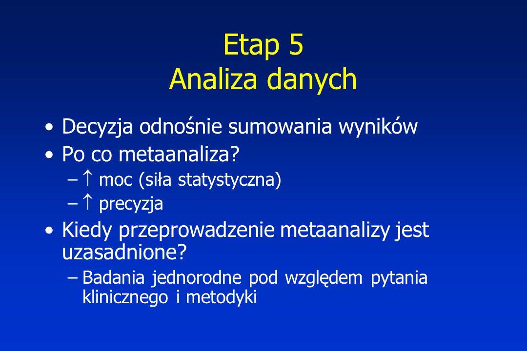 Etap 5 Analiza danych Decyzja odnośnie sumowania wyników Po co metaanaliza.