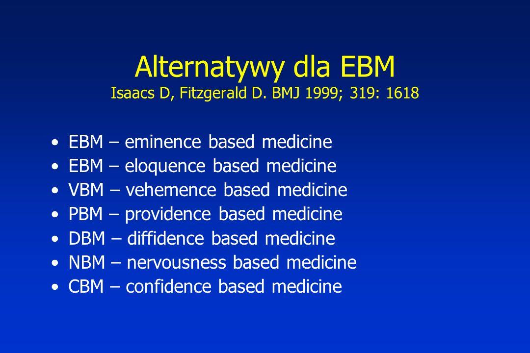 Alternatywy dla EBM Isaacs D, Fitzgerald D. BMJ 1999; 319: 1618 EBM – eminence based medicine EBM – eloquence based medicine VBM – vehemence based med