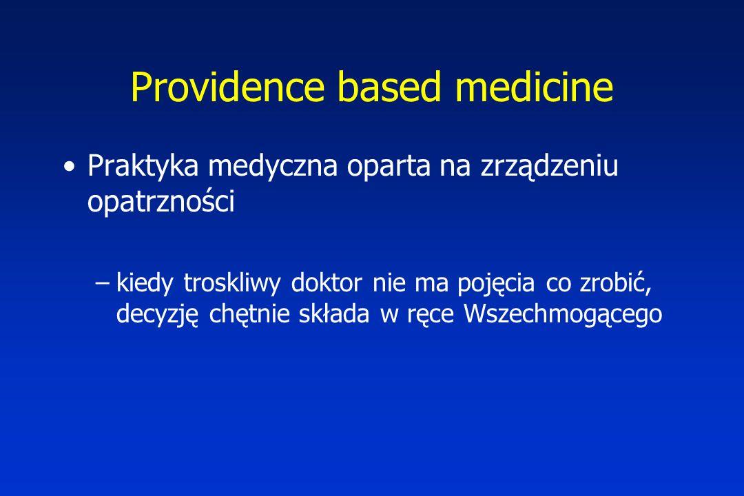 Providence based medicine Praktyka medyczna oparta na zrządzeniu opatrzności –kiedy troskliwy doktor nie ma pojęcia co zrobić, decyzję chętnie składa w ręce Wszechmogącego