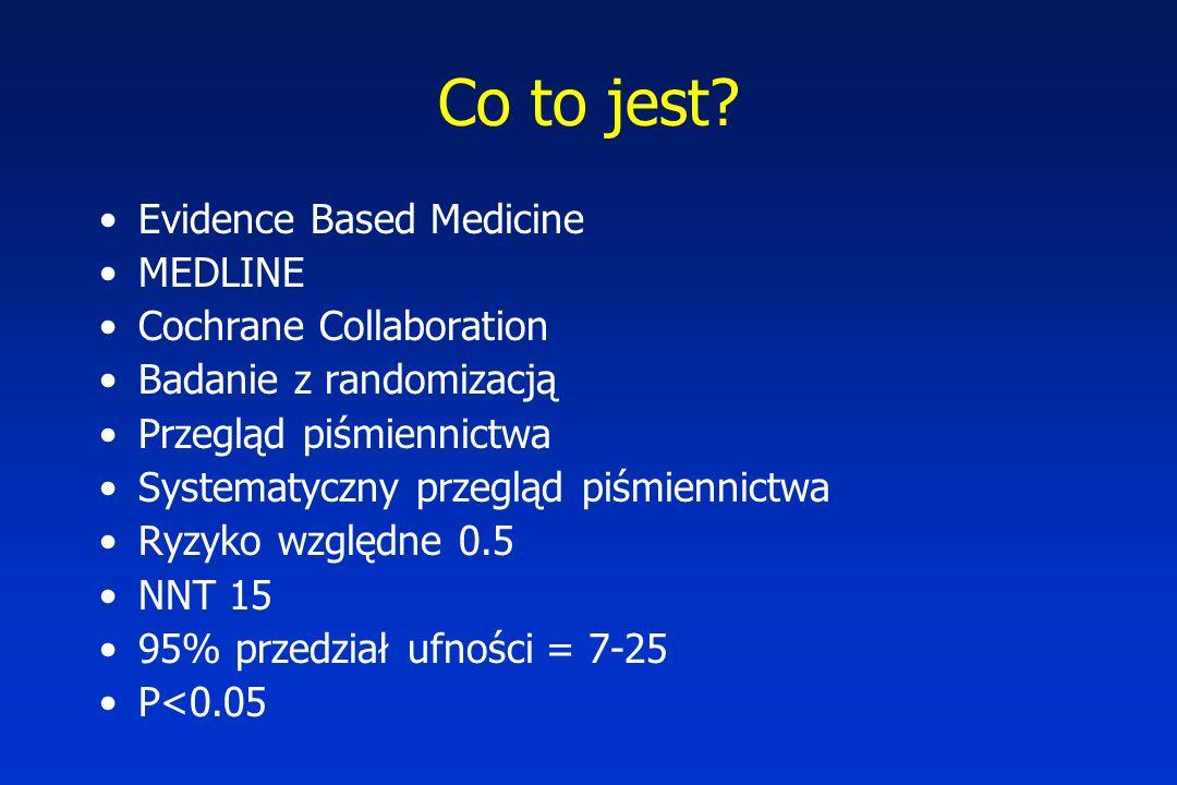 Co to jest? Evidence Based Medicine MEDLINE Cochrane Collaboration Badanie z randomizacją Przegląd piśmiennictwa Systematyczny przegląd piśmiennictwa