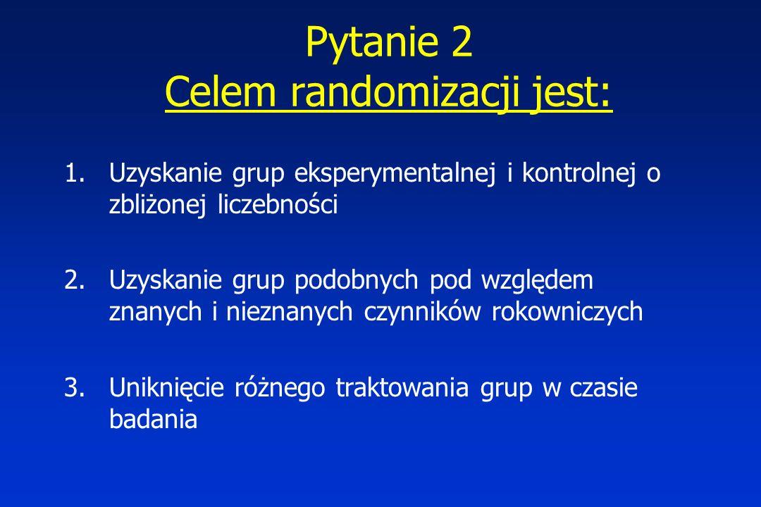 Pytanie 2 Celem randomizacji jest: 1.Uzyskanie grup eksperymentalnej i kontrolnej o zbliżonej liczebności 2.Uzyskanie grup podobnych pod względem znanych i nieznanych czynników rokowniczych 3.Uniknięcie różnego traktowania grup w czasie badania