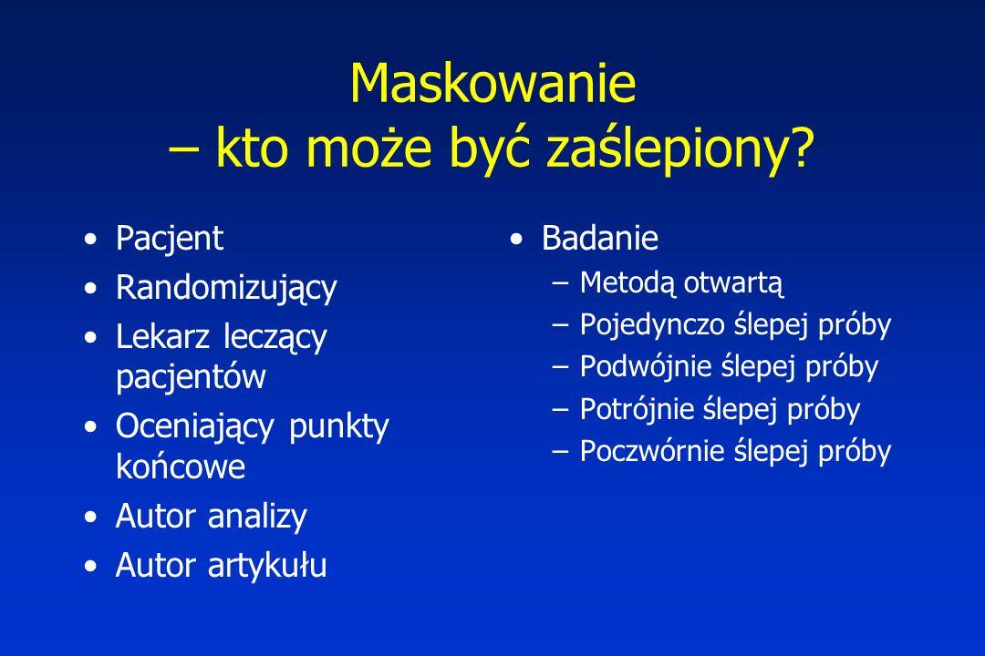 Maskowanie – kto może być zaślepiony? Pacjent Randomizujący Lekarz leczący pacjentów Oceniający punkty końcowe Autor analizy Autor artykułu Badanie –M