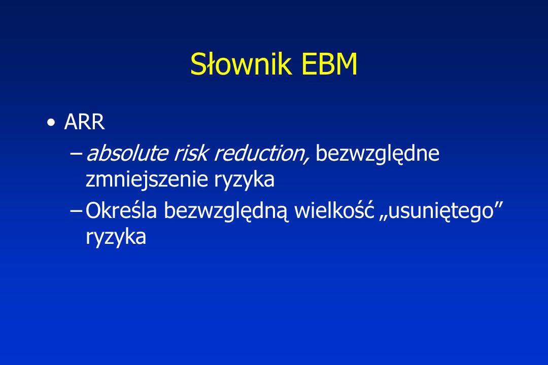 """Słownik EBM ARR –absolute risk reduction, bezwzględne zmniejszenie ryzyka –Określa bezwzględną wielkość """"usuniętego ryzyka"""