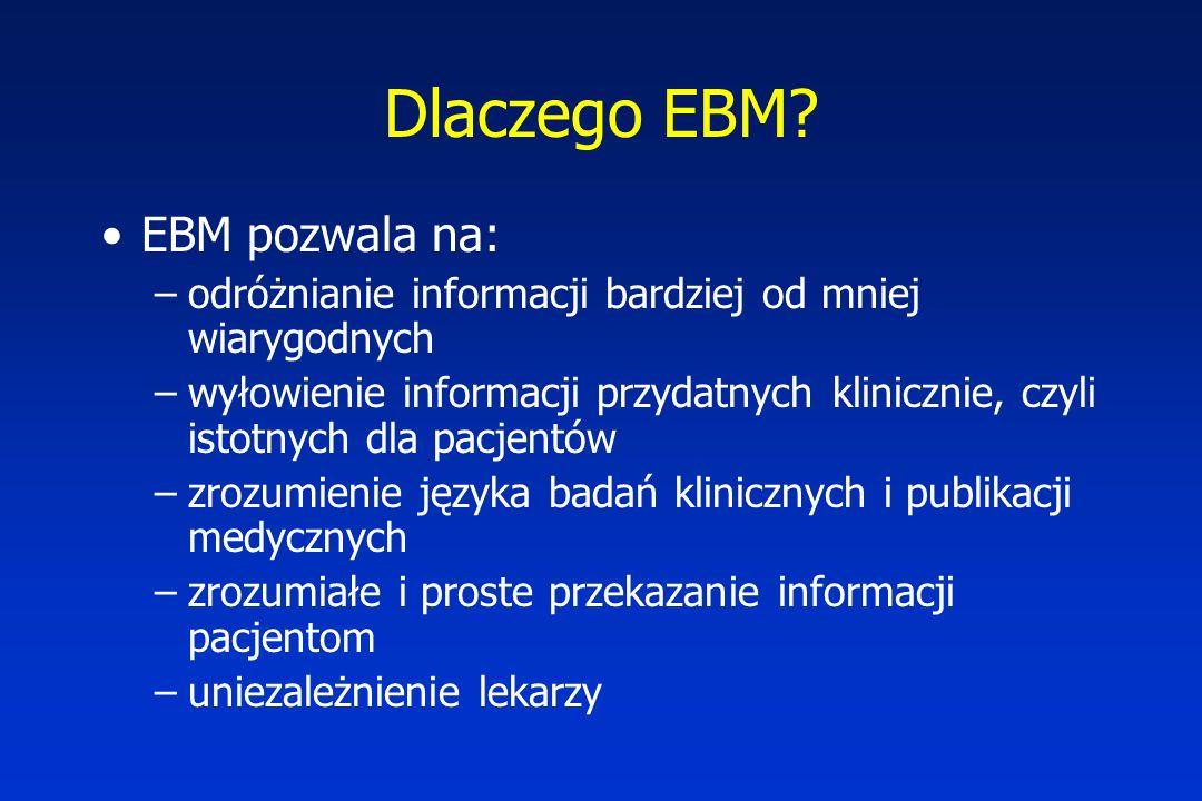Dlaczego EBM? EBM pozwala na: –odróżnianie informacji bardziej od mniej wiarygodnych –wyłowienie informacji przydatnych klinicznie, czyli istotnych dl