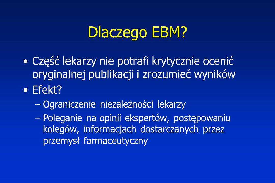 Dlaczego EBM? Część lekarzy nie potrafi krytycznie ocenić oryginalnej publikacji i zrozumieć wyników Efekt? –Ograniczenie niezależności lekarzy –Poleg