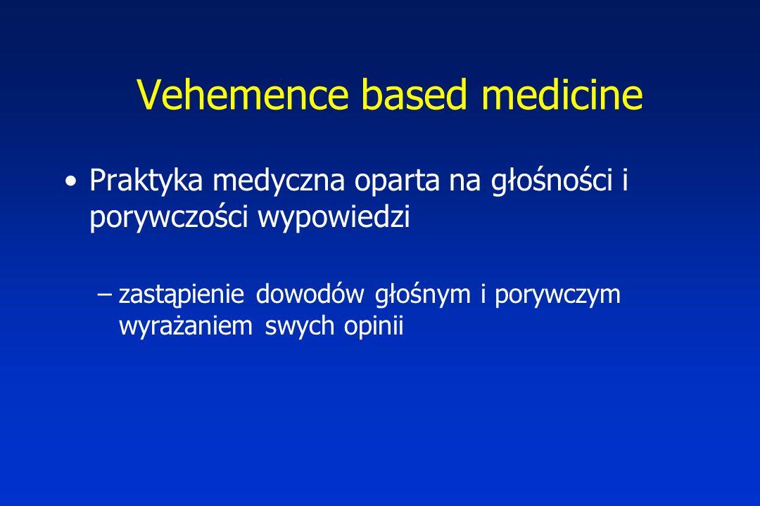 Vehemence based medicine Praktyka medyczna oparta na głośności i porywczości wypowiedzi –zastąpienie dowodów głośnym i porywczym wyrażaniem swych opinii
