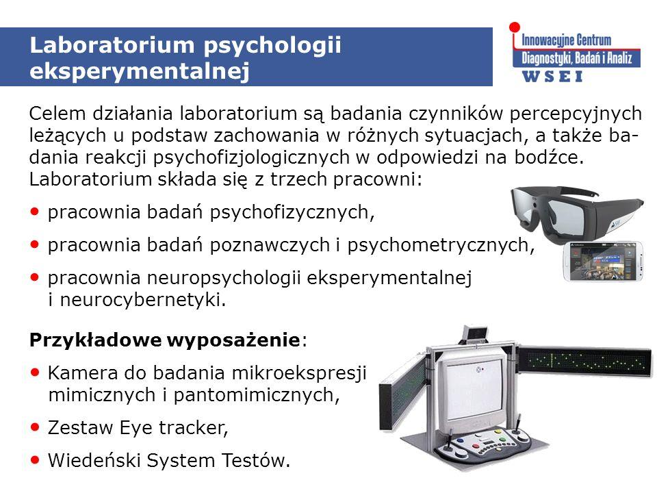 Laboratorium psychologii eksperymentalnej Celem działania laboratorium są badania czynników percepcyjnych leżących u podstaw zachowania w różnych sytuacjach, a także ba- dania reakcji psychofizjologicznych w odpowiedzi na bodźce.