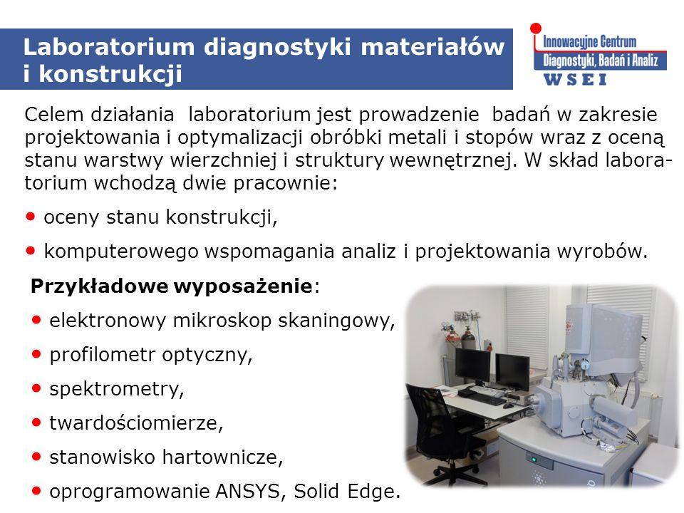 Laboratorium diagnostyki materiałów i konstrukcji Celem działania laboratorium jest prowadzenie badań w zakresie projektowania i optymalizacji obróbki