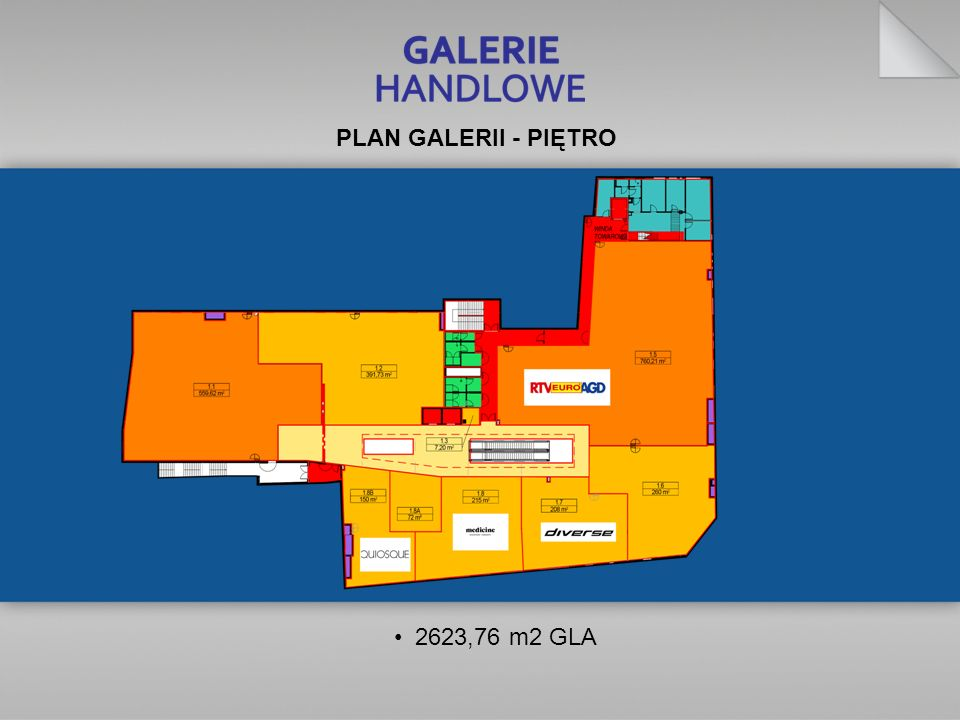 2623,76 m2 GLA PLAN GALERII - PIĘTRO