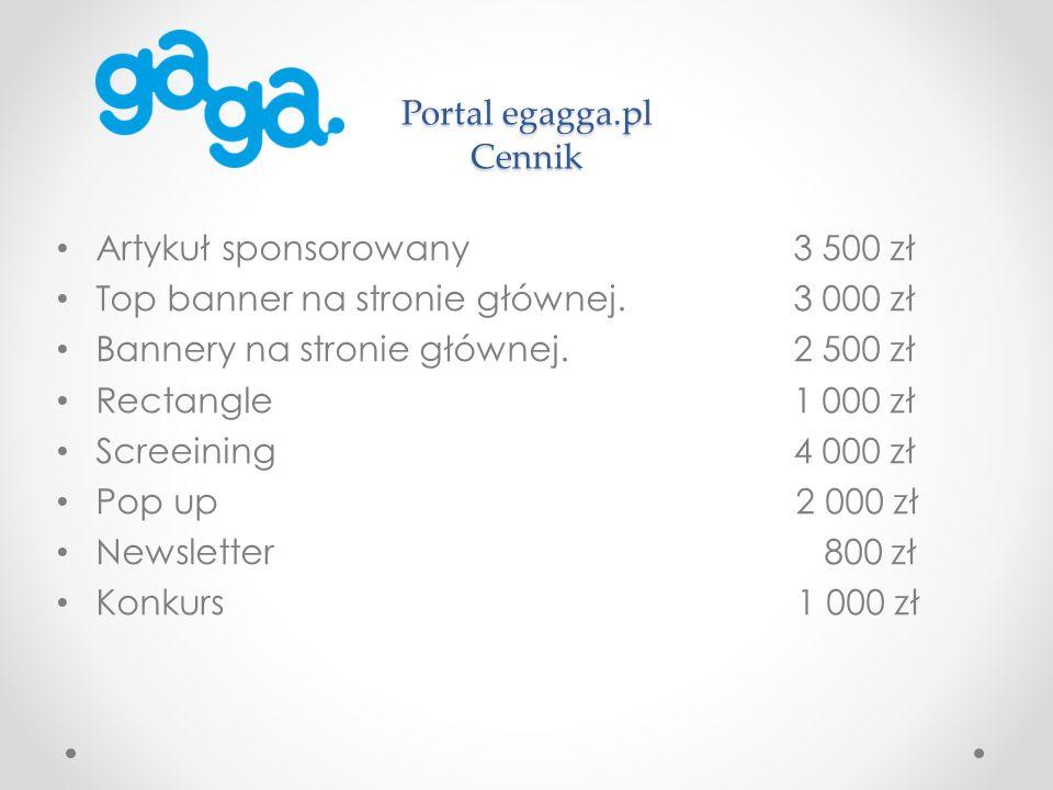 Portal egagga.pl Cennik Artykuł sponsorowany 3 500 zł Top banner na stronie głównej.