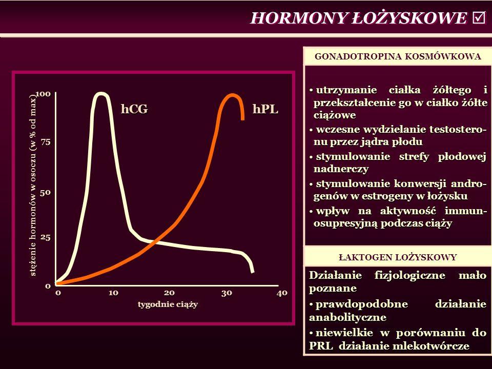 HORMONY ŁOŻYSKOWE  0 10 20 30 40 tygodnie ciąży 1007550250 stężenie hormonów w osoczu (w % od max) hCGhPL GONADOTROPINA KOSMÓWKOWA utrzymanie ciałka żółtego i przekształcenie go w ciałko żółte ciążowe utrzymanie ciałka żółtego i przekształcenie go w ciałko żółte ciążowe wczesne wydzielanie testostero- nu przez jądra płodu wczesne wydzielanie testostero- nu przez jądra płodu stymulowanie strefy płodowej nadnerczy stymulowanie strefy płodowej nadnerczy stymulowanie konwersji andro- genów w estrogeny w łożysku stymulowanie konwersji andro- genów w estrogeny w łożysku wpływ na aktywność immun- osupresyjną podczas ciąży wpływ na aktywność immun- osupresyjną podczas ciąży ŁAKTOGEN LOŻYSKOWY Działanie fizjologiczne mało poznane prawdopodobne działanie anabolityczne prawdopodobne działanie anabolityczne niewielkie w porównaniu do PRL działanie mlekotwórcze niewielkie w porównaniu do PRL działanie mlekotwórcze