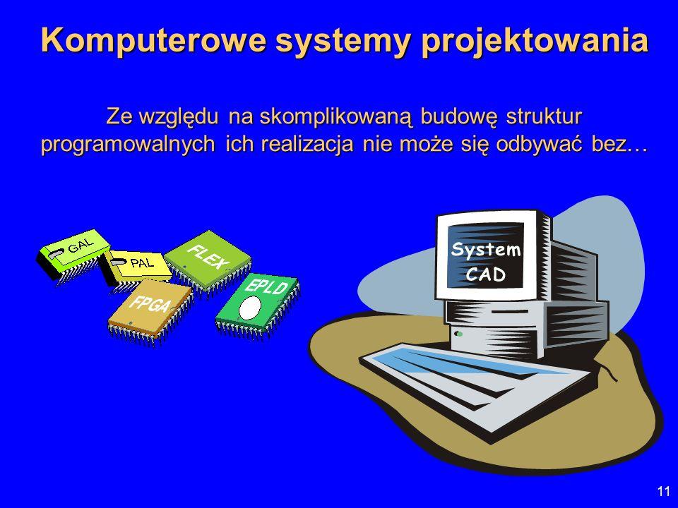 11 Komputerowe systemy projektowania Ze względu na skomplikowaną budowę struktur programowalnych ich realizacja nie może się odbywać bez…